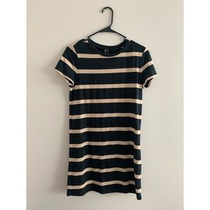 Black and Tan Striped T-Shirt Dress